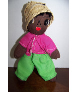 "Vintage Homemade black rag doll 7"" - $6.32"