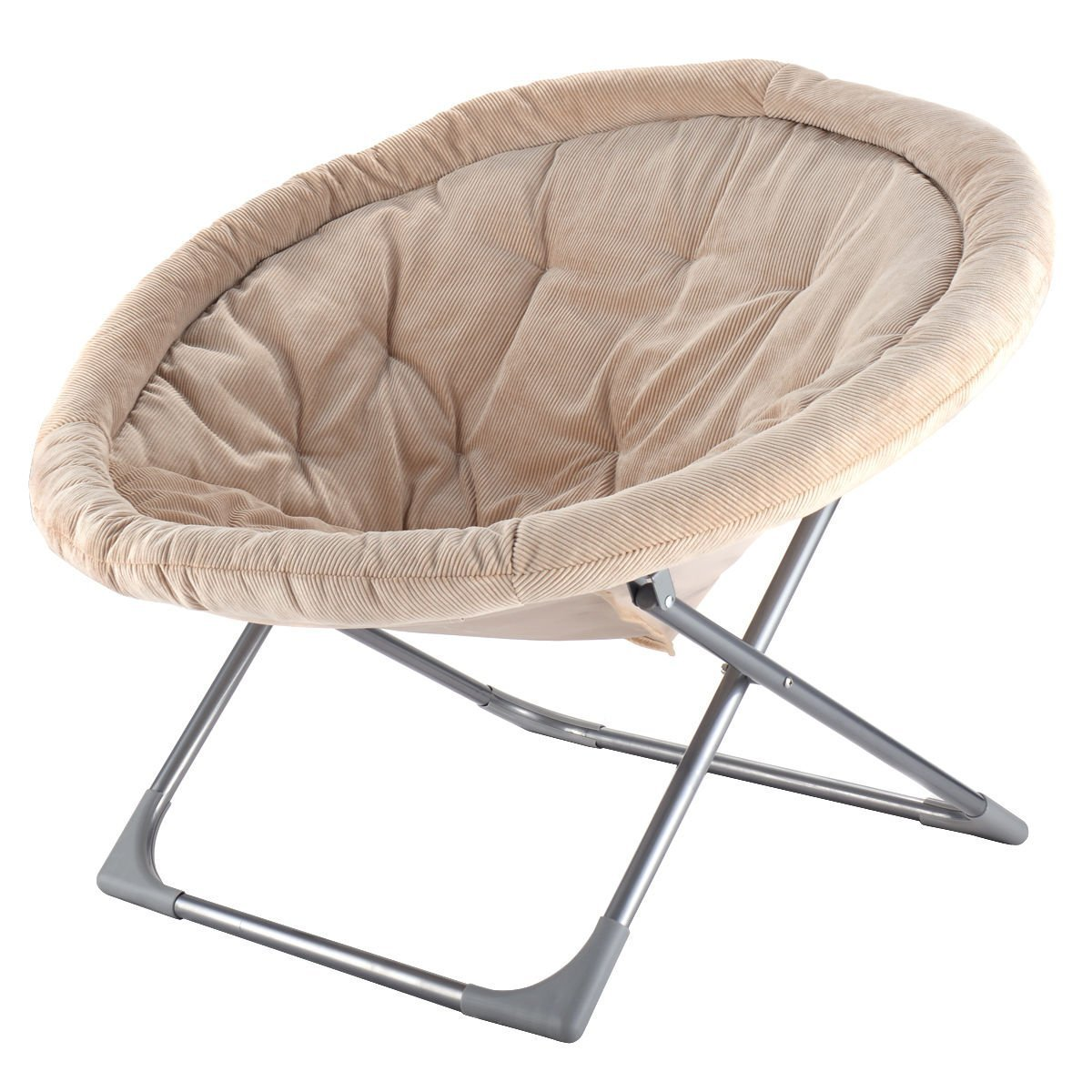 Oversized Folding Saucer Moon Chair Corduroy Round Seat Living Room Bei