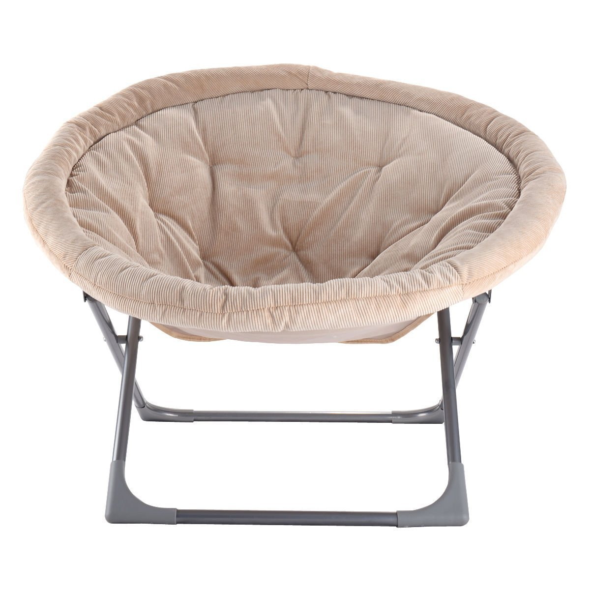 Oversized Large Folding Saucer Moon Chair Corduroy Round Seat Living Room Bei