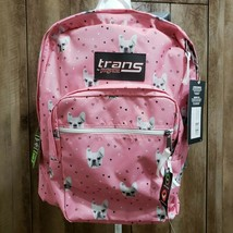 "Trans by JanSport Pink French Bulldog Backpack Book Bag 15"" Laptop Sleev... - $42.95"