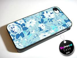 Blue Floral Flower iPhone 4S Case Hard Plastic - $14.85