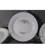 Corelle Callaway-Ivy Lot of 6 Salad/Lunch Plates-Green Rim-Scalloped Edg... - $12.95