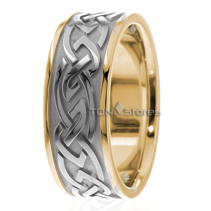 10K SOLID YELLOW GOLD MENS 9MM CELTIC WEDDING BAND RING MANS CELTIC WEDDING RING