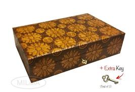 Large Flowers Jewelry Box Polish Handmade Linden Wood Floral Keepsake wi... - €50,51 EUR