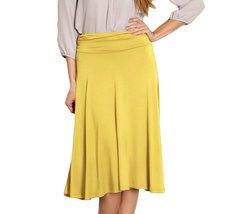 DBG Women's Yellow Midi Flare Skirt-1X - $28.70