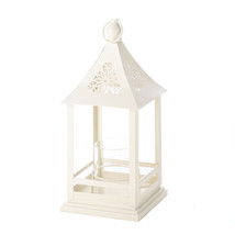 Beautiful White Floral Cutout Lantern With Glas... - $25.00