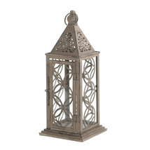 Antique Finish Lantern With Intricate Cutout Pa... - $32.00