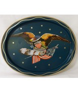 Vintage Americana tv tray patriotic USA eagle 13 stars flag oval metal s... - £23.48 GBP