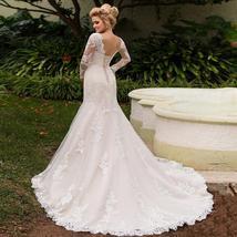 Elegant Long Sleeves Lace Bride Dresses Scoop Neck Lace-up back Tulle Mermaid We image 6