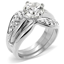 HCJ WOMEN'S SILVER TONE 2.00 CT AAA CZ ENGAGEMENT & WEDDING RING SET - S... - $18.98