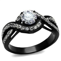 HCJ WOMEN'S BLACK STAINLESS STEEL 0.75 CT INTERTWINED CZ ENGAGEMENT RING... - $17.98