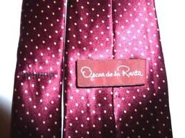 "Oscar de La Renta 100% Silk Necktie Red White Poka Dot 54"" X 3"" - $8.00"