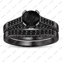 Solid Black GP Sterling Silver Women's Engagement Bridal Set In Round Black CZ - $85.13