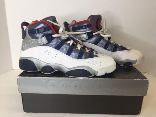 79a1e63ab7896f 12. 12. Previous. Air Jordan 6 Rings Size 4.5Y Youth Shoes Sneakers White  Navy Blue Red 323419 161