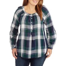 NEW FADED GLORY WOMENS PLUS SIZE 4X BLUE GREEN PLAID POPOVER HENLEY SHIR... - $19.34
