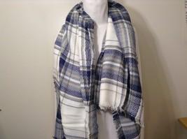 NEW Plaid Navy Blue Gray White Beige Blanket Scarf Wrap image 4