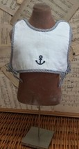 GYMBOREE Terry-Lined SAILOR BODICE BIB Embroidered ANCHOR White Stripe S... - $14.45