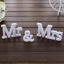3pc Set of Wooden White Signs Mr and Mrs Wedding Decoration - $12.25