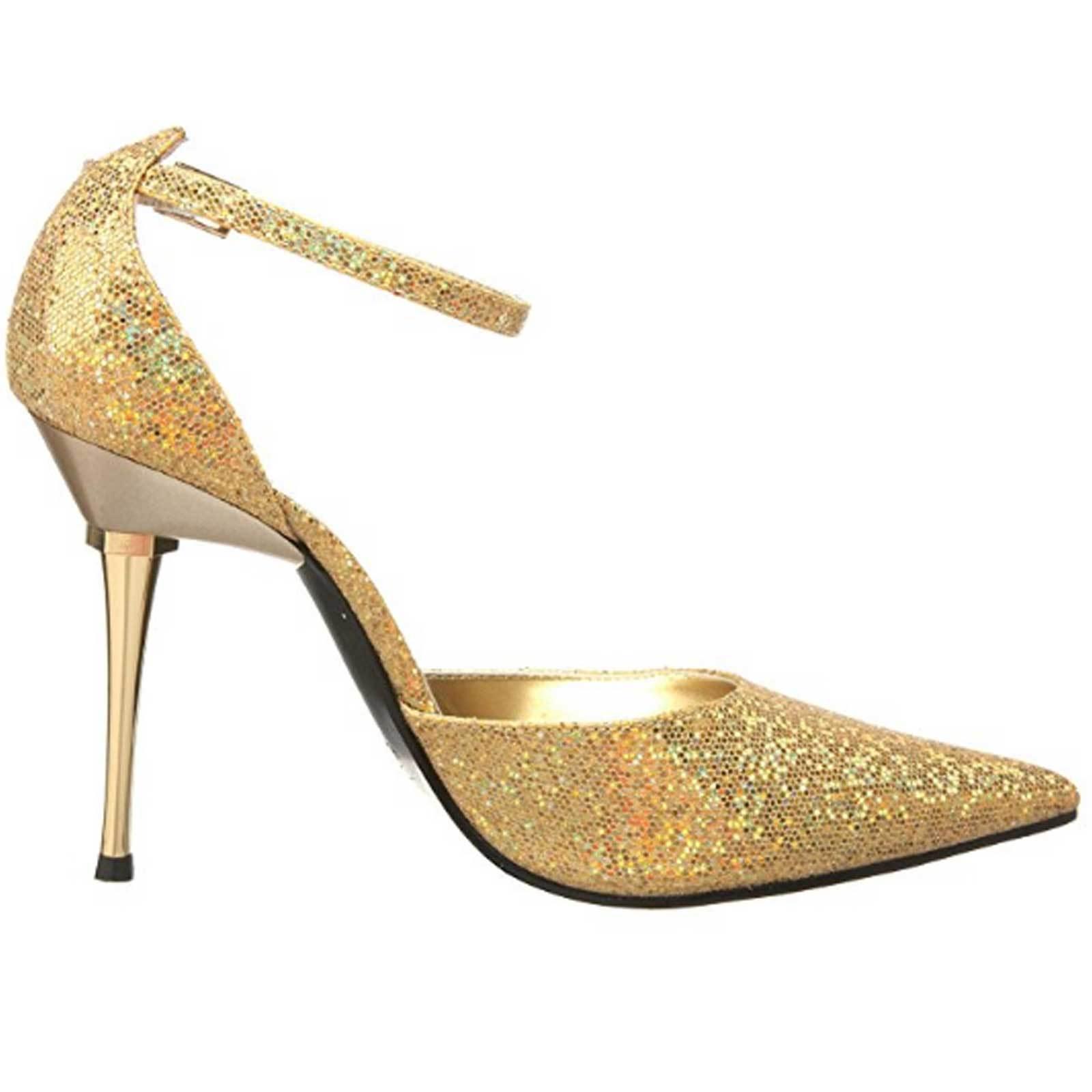 Highest Heel Stiletto D'Orsay Pointy Toe Pump Ankle Strap SLICK-101 Gold Glitter