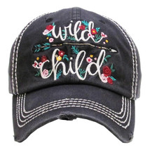 """WILD CHILD"" Embroidered, Vintage Style Ball Cap with Washed-look"