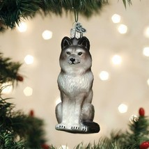 OLD WORLD CHRISTMAS SITTING WOLF GLASS CHRISTMAS ORNAMENT 12545 - $16.88