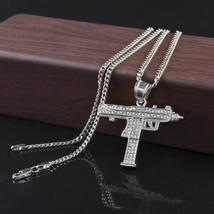 Gold Gun Shape Chain Hip Hop Men Women Rhinestone Jewelry Pendant  - $12.92