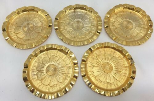 5pc Vintage TAN Gold Drink Coasters Hollywood Regency Mid-Century Modern Retro