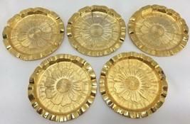 5pc Vintage TAN Gold Drink Coasters Hollywood Regency Mid-Century Modern... - $98.95