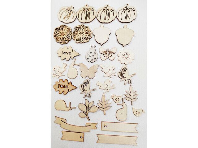 Wooden Ephemera Pieces, Set of 31 Pieces