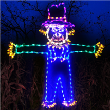 Happy Halloween Fall Scarecrow Outdoor LED Lighted Decoration Steel Wire... - $296.99