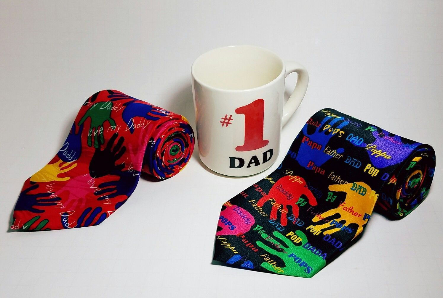 Father's Day Gift Combo - 1 #1 Dad Coffee Mug plus 2 Silk Ties. Perfect gift dad