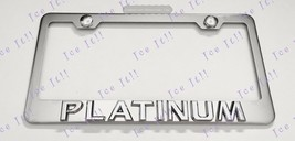 PLATINUM For Cadillac 3D Emblem Stainless Steel License Plate Frame Rust Free - $19.79