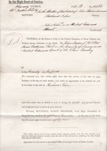 High Court Writ Issued By John A. Talbot 1882 Chancery Division Letter R... - $7.55