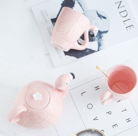 Home Deco Pink Flamingo Tea Pot