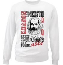 Karl Marx Reason Quote - New White Cotton Sweatshirt - $33.06