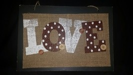 Press Board and Burlap Sign Rustic Country Wedding Anniversary Valentine... - $5.00