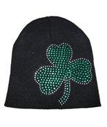 St. Patricks Day Black Knit Beanie Hat with Green Rhinestone Shamrock - $4.99
