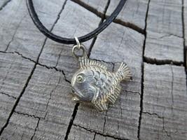 Empowering Vintage Black Necklace Alloy Fish Charm Sea Theme Boho Handcr... - $3.47