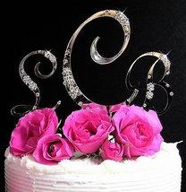 Scattered Rhinestone Silver Monogram Wedding Cake Topper - $108.59