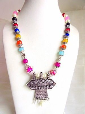 Indian Bollywood Pearls Necklace Oxidized Pendant Women's Fashion Jewelry image 5