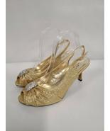 Midnight Velvet Starburst Shoe Womens Size 9W Gold Heels Glittery Open Toe - $49.99