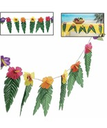 "Hawaiian Luau Garland With Flowers and Green Leaves 72"" - $8.07"
