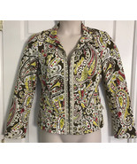 ETCETERA  - CLIP DOWN FRONT BROWN YELLOW WHITE PRINT JACKET SIZE 8  MEDI... - $30.84