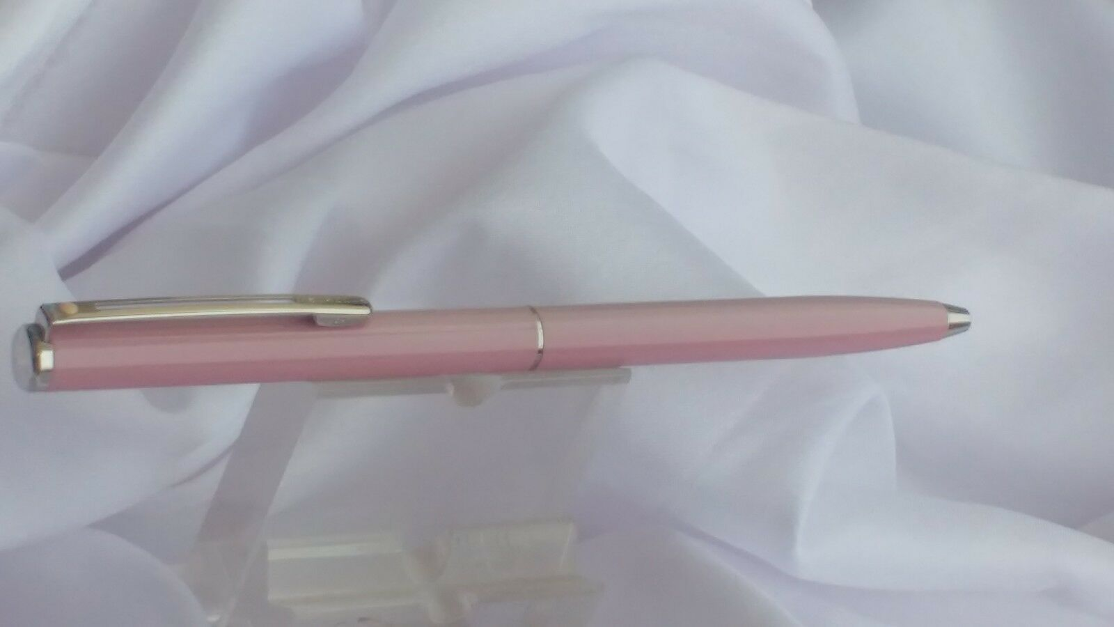 Sheaffer Agio Frosted Pink with Nickel Plate Trim: Ball Pen, NOS