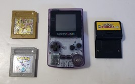 Nintendo Game Boy Color PURPLE Handheld System Pokemon Silver and Gold &... - $103.90