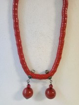 Navajo Brass Rondell hammered Nugget Heishi Beaded long Necklace and Ear... - $34.64