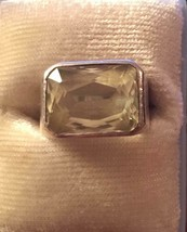 Vintage Sterling Silver .925 Faceted Citrine Ring Pre 1970 Size 4 1/2 - $33.95