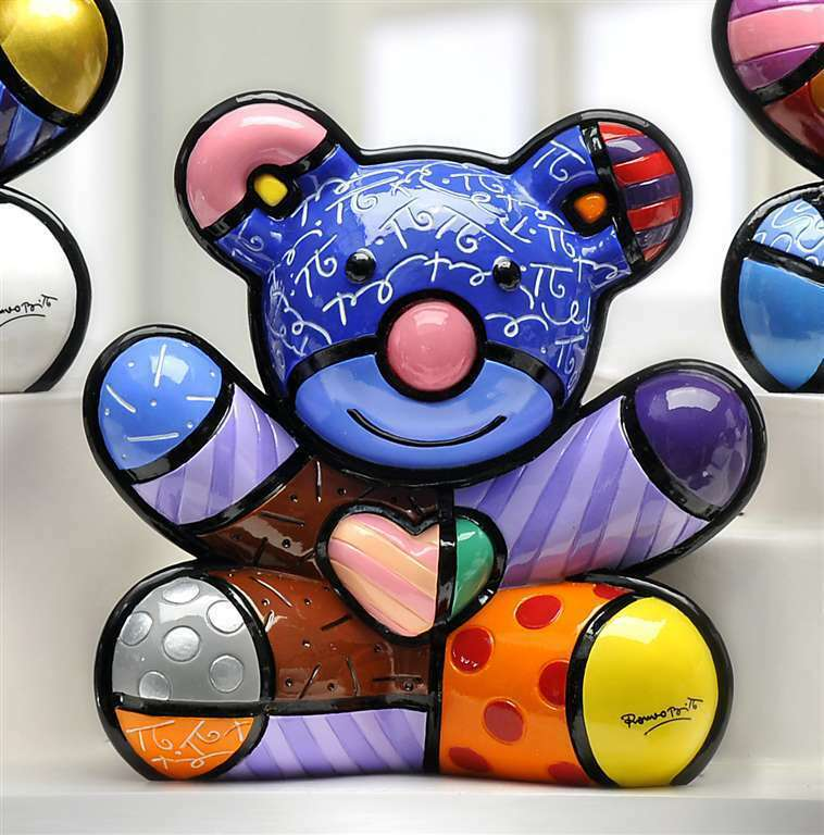 Romero Britto Joy Bear Design Figurine Rare Collectible