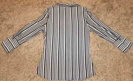 ANXIETY BLACK WHITE GRAY STRIPE FITTED BLOUSE TOP BUTTON SHIRT CAREER  M S 6 image 5