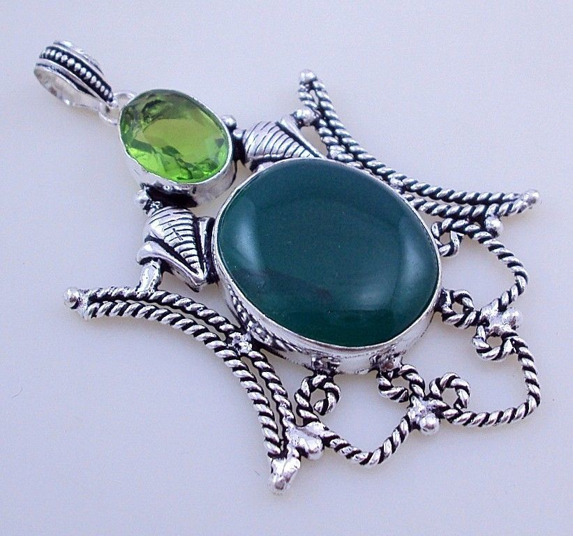 Primary image for 14 Gr Stunning Peridot-Green Onyx Stone Silver Overlay  Handmade Jewelry Pendant